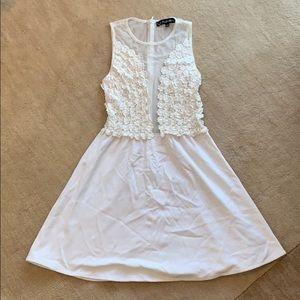 White mesh and flower dress